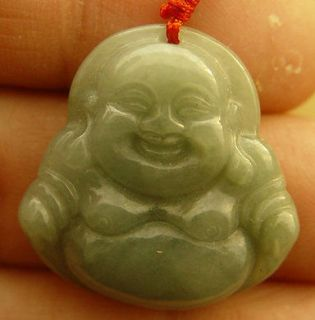 Natural A Jade jadeite pendant Green Happy Buddha God Tathagata