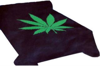 Marijuana Leaf Weed Black Green Blanket throw Mink Plush queen size