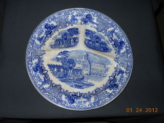 Regout Maastricht Blue Old Abbey 11 1/2 Transferware Grill Plate