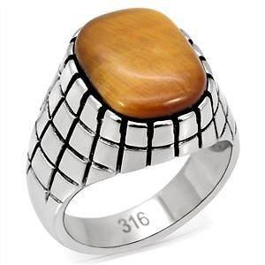 R939 10 GENUINE 12 CARAT TIGERS EYE RING IN 316 STAINLESS STEEL