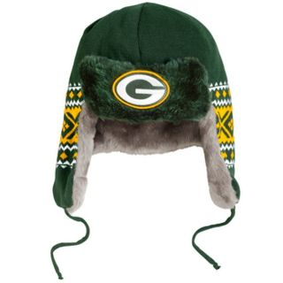 Green Bay Packers Team Trapper Winter Hat by New Era   Ear Flaps Faux