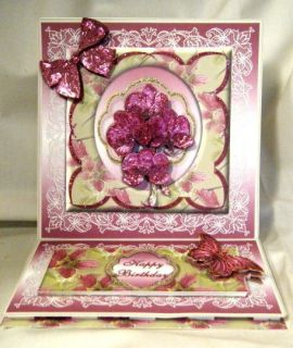 Greeting Card   3D Magenta Orchids in a Floral framed Easel Card