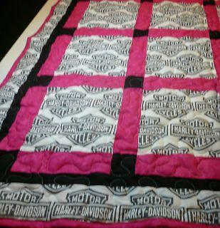 Handcrafted Patch Work Pink Harley Davidson Baby Crib Quilt 39x50