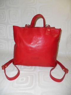 Valentina Italian Red Leather Tote Backpack Style Handbag Purse GUC