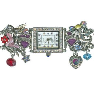 NEW KIRKS FOLLY BEST FRIENDS RAINBOW BRIDGE BRACELET WATCH SILVERTONE