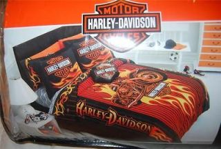 HARLEY DAVIDSON FLAME RIDER TWIN COMFORTER and TWIN SHEET SET NEW 1st
