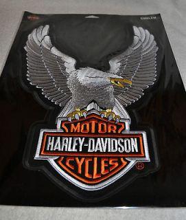 HARLEY DAVIDSON^ UPWING EAGLE BAR SHIELD SILVER PATCH FOR VEST JACKET