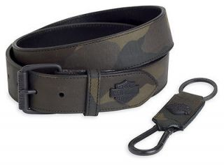 Harley Davidson Mens Camo Belt & Key Fob Set, Belt Size 36