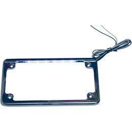 Motorcycle Chrome Lighted License Plate Frame   LED Lights   Free USA