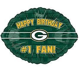 NFL Green Bay Packers #1 Fan Happy Birthday 18 Football Shaped Foil
