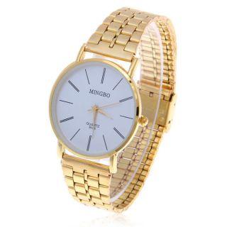 NEW Luxury Fashion Unique Gold Steel strap Mens Women Watch Gift B005