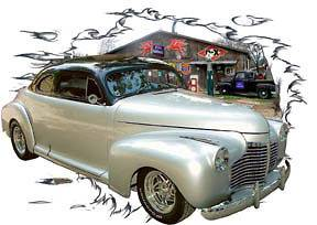 1941 Silver Chevy Coupe Custom Hot Rod Garage T Shirt 41, Muscle Car