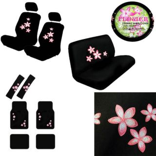 15pc Set Seat Covers Floral Pink Flowers Print + Floor Mats+Wheel+Belt