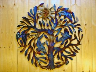 Early Bird Tree Metal Wall Art Wrought Iron Abstract