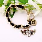 Betsey Johnson Synchronous Heart shaped angel wings bracelet #BJ S29Y