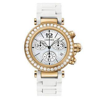 Cartier Pasha Seatimer Ladies Rose Gold Diamond Chronograph Watch