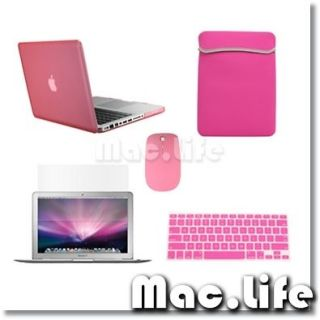 5in1 Rubberized PINK Case for Macbook PRO 13 + Keyboard Cover +LCD