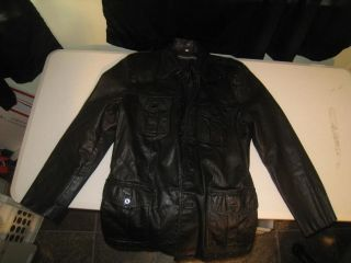 Vintage Size 38 AMF Harley Davidson Black Cowhide Leather Dress Jacket