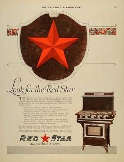 1919 Ad Detroit Vapor Stoves Oil Gas Range Red Star   ORIGINAL
