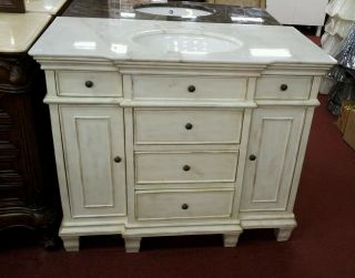 48 Bathroom sink Whitewash cabinet w white Granite top Vanity