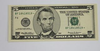 1999, New York, *STAR NOTE*, $5.00, Five Dollar Bill, BF18418519*