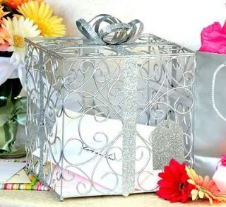 Silver WEDDING CARD BOX Reception Gift Card / Money Box