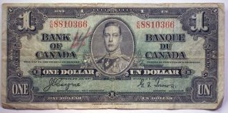 1937 Canada One Dollar Bill Paper Money Osborne Towers Signature