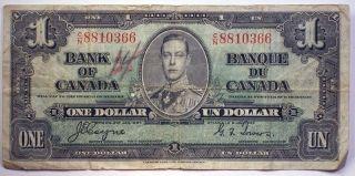 1937 Canada One Dollar Bill Paper Money Osborne Towers Signature