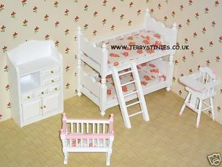 4PCE NURSERY SET KIDS BUNK BEDS HIGH CHAIR COT CRIB