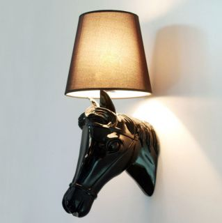 black white Horse Head Wall Lamp Light House bedroom Lighting parlour