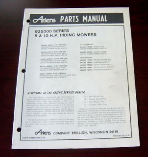 ARIENS 925000 SERIES 8 & 10 HP RIDING MOWER PART MANUAL