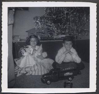 Christmas Cute Boy Girl w/ Doll & Buddy L Army Truck Train Toys 778845