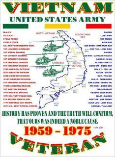 VIETNAM WAR UNITED STATES ARMY MILITARY VETERAN UNIT & OPERATION SHIRT