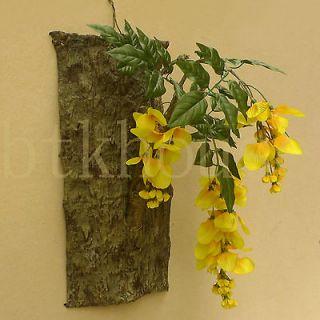 Tree Bark  Wisteria Hanging Wall Decor Design Silk Flower Arrangement