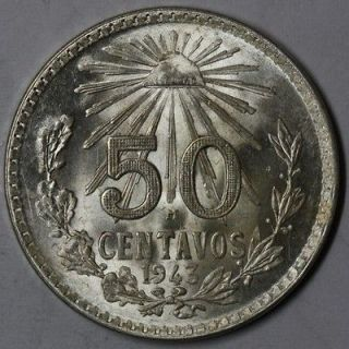 1943 SILVER 50 centavos Mexico big old silver coin