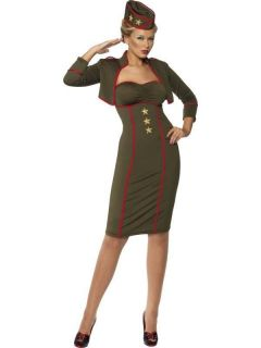 Womens Army Girl Officer Military Fancy Dress Costume M