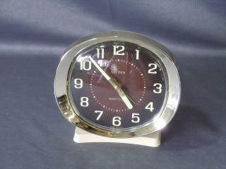 Vintage Westclox Big Ben Deluxe? Wind Up Alarm Clock Metal Back Beige