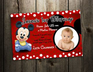 MICKEY MOUSE INVITATION BIRTHDAY PARTY CARD SHOWER BABY INVITES F6  9