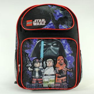 LEGO Star Wars Black 16 Large Backpack   Chubaka Luke Darth Vader