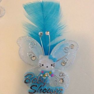 12 Hello Kitty Baby Shower Glitter Butterfly Pins For Favors Or Games