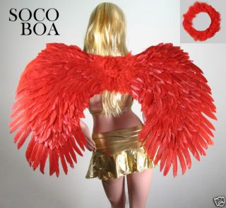 SUPER LARGE Red Feather Halloween Angel Wings Free Halo costume Fairy