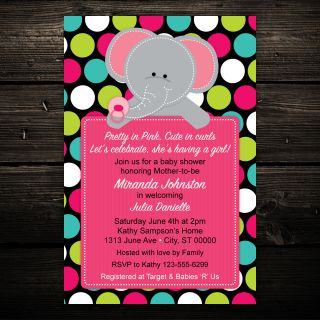 Elephant Jungle Safari Birthday or Baby Shower Invitations   Set of 10