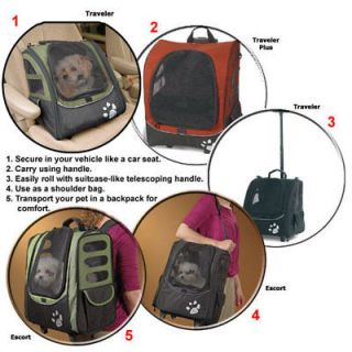 Pet Carrier Car Seat Wheeled Backpack I GO Traveler Plus Pet Gear Sage