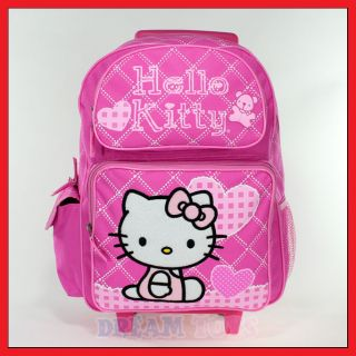 Hello Kitty Checkered Pink Roller Backpack   Rolling Girls Bag LARGE