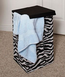 NEW Zebra Animal Print Storage Hamper for Laundry Room Closet Bedroom