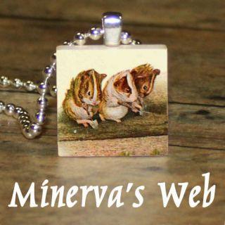 GUINEA PIG Beatrix Potter Art Charm Pendant Necklace by Minervas Web