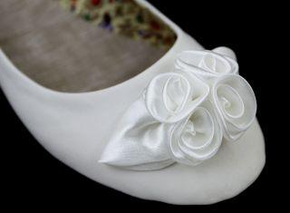 White Rose Wedding Bridal Shoes Ballerina Flat Pumps 3 4 5 6 7 7.5