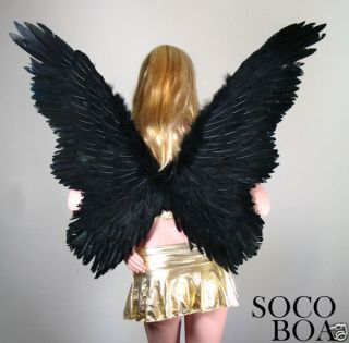 Black Butterfly Feather Angel Wings + HALO Halloween costume XL