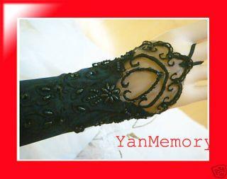 Black Satin Lace Bridal Wedding Dress Gown Long Gloves