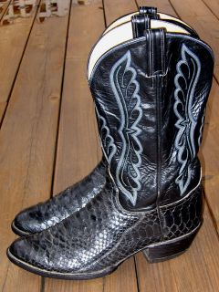 Tony Lama Style Y5053 Black Python Size 11.5 Cowboy Boots